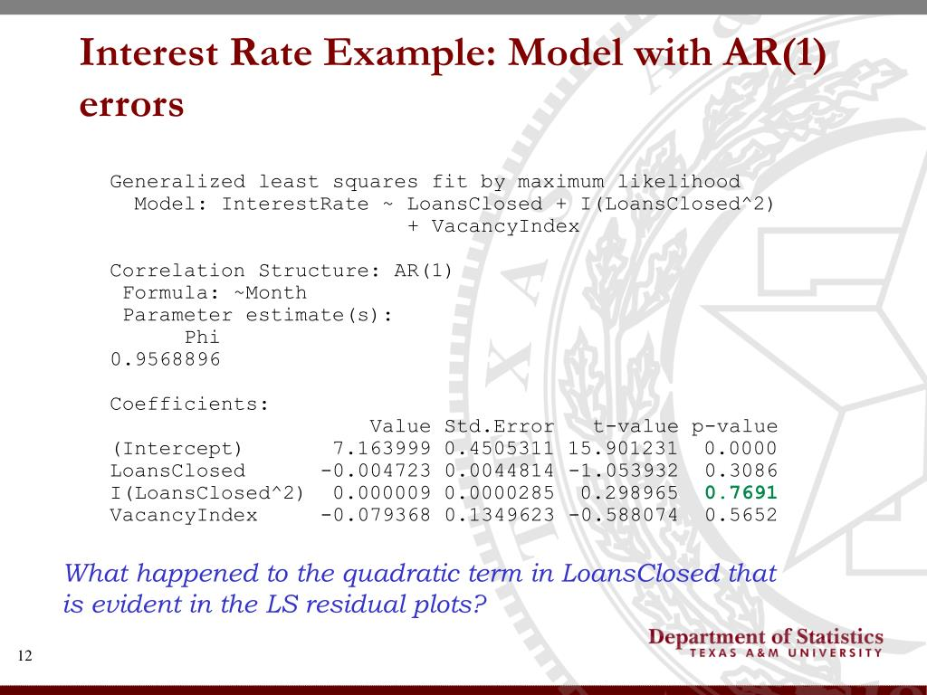 Interest Rate Example: Model with AR(1) errors