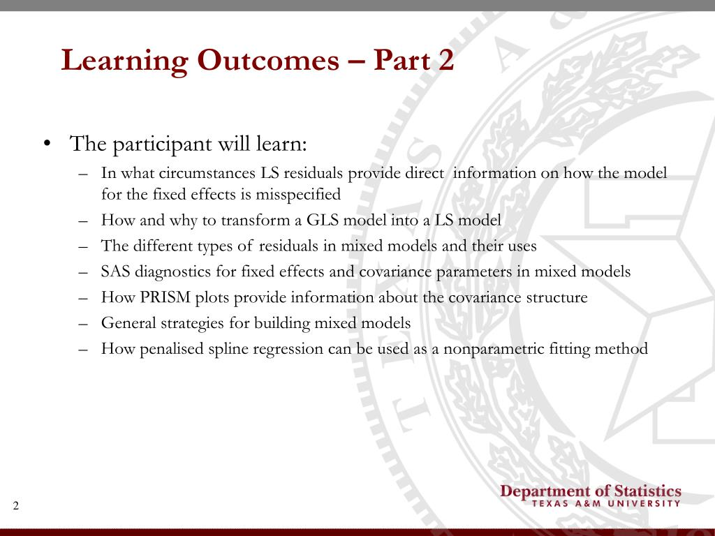 Learning Outcomes – Part 2