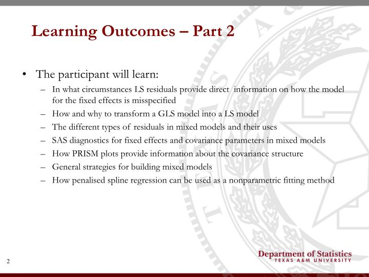 Learning outcomes part 2