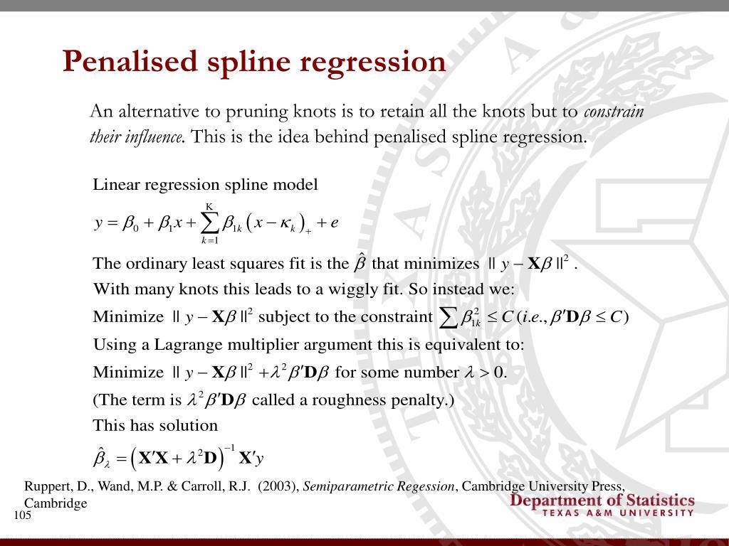 Penalised spline regression