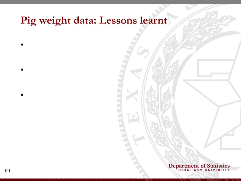 Pig weight data: Lessons learnt