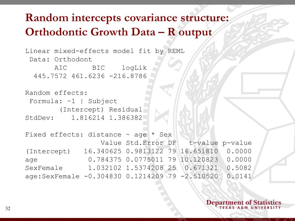 Random intercepts covariance structure: Orthodontic Growth Data – R output