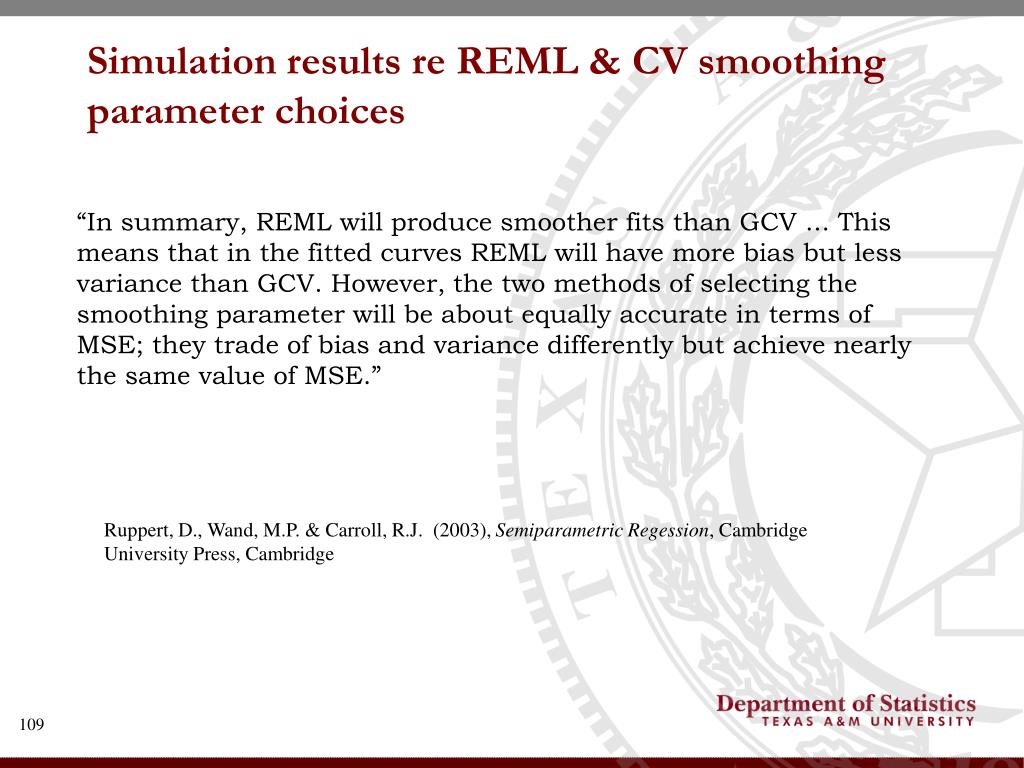 Simulation results re REML & CV smoothing parameter choices