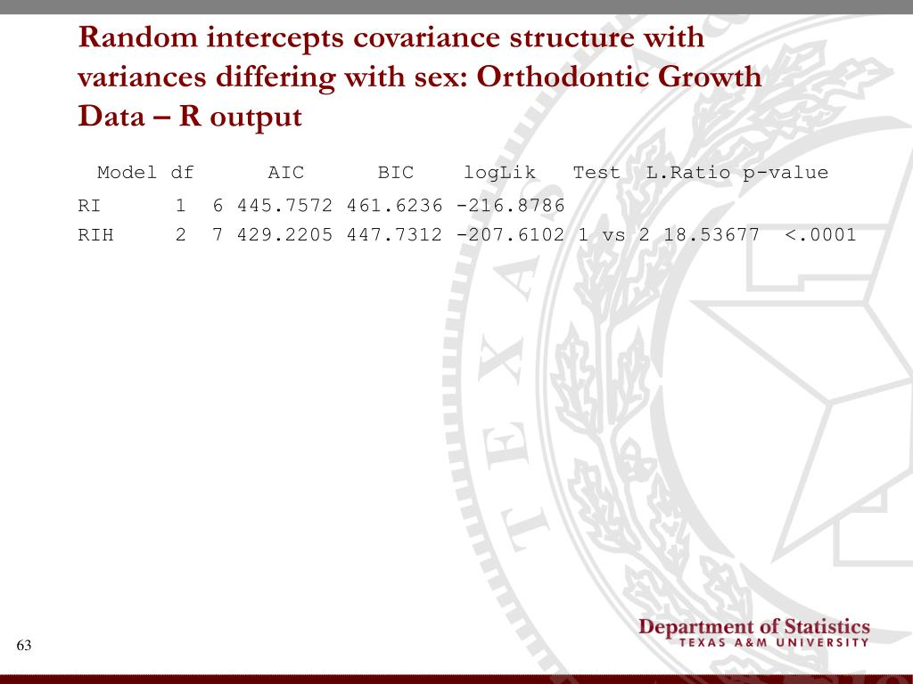 Random intercepts covariance structure with variances differing with sex: Orthodontic Growth Data – R output