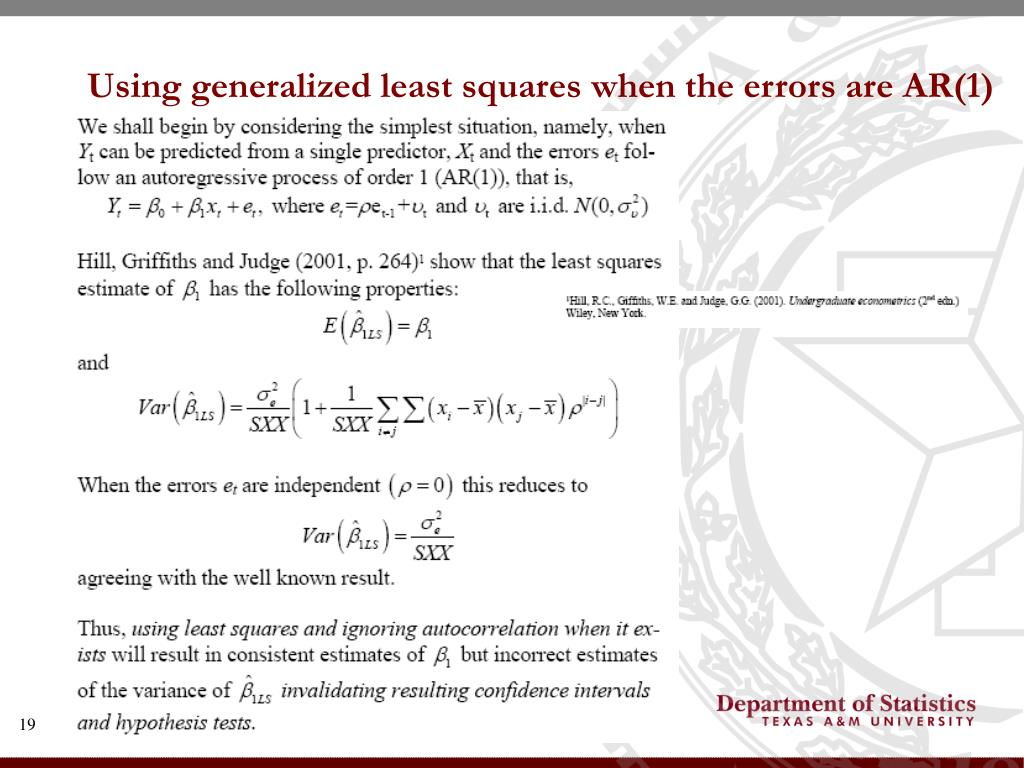Using generalized least squares when the errors are AR(1)