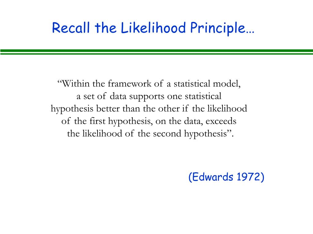 Recall the Likelihood Principle…