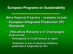 european programs on sustainability
