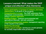 lessons learned what makes the swp unique and effective key elements