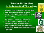 sustainability initiatives in the international wine industry