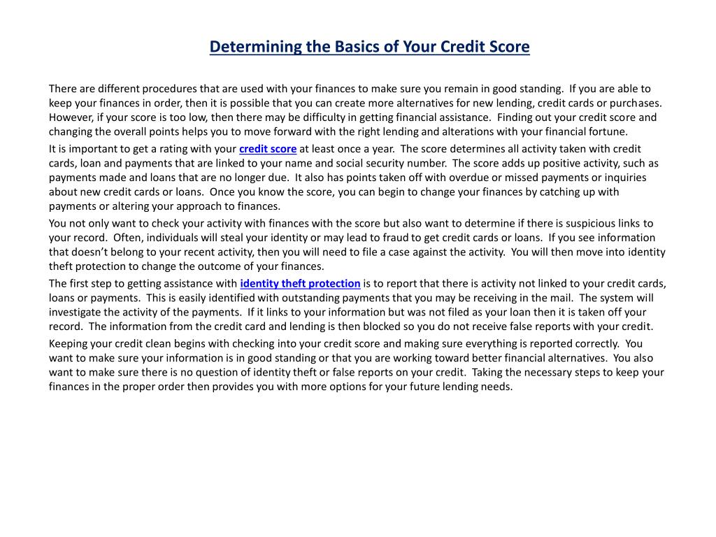 determining the basics of your credit score l.