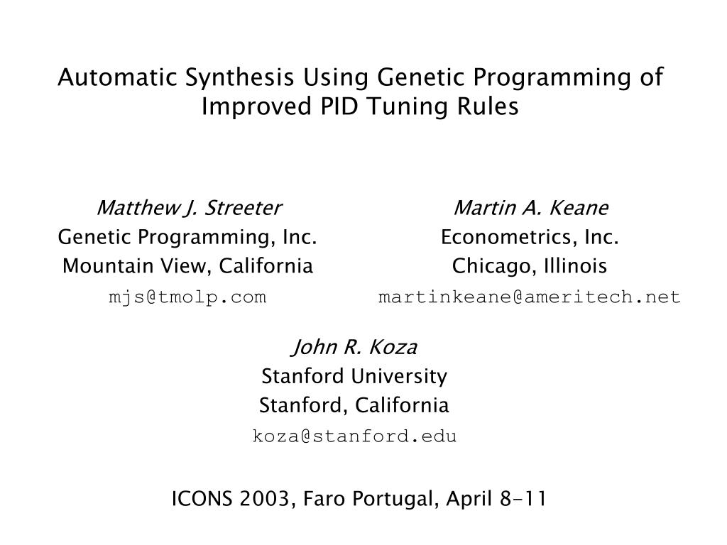 automatic synthesis using genetic programming of improved pid tuning rules l.