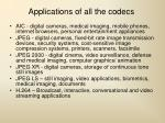applications of all the codecs