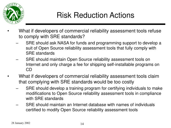 Risk Reduction Actions