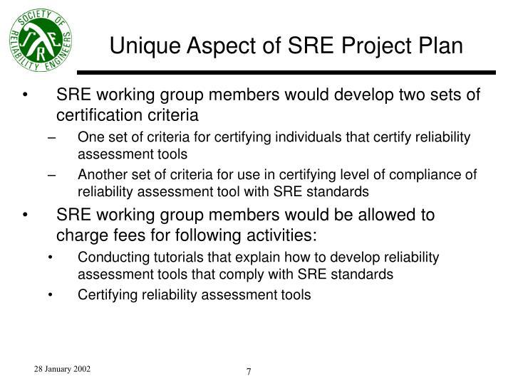 Unique Aspect of SRE Project Plan