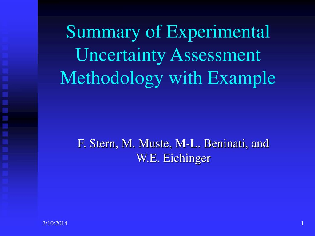 summary of experimental uncertainty assessment methodology with example l.