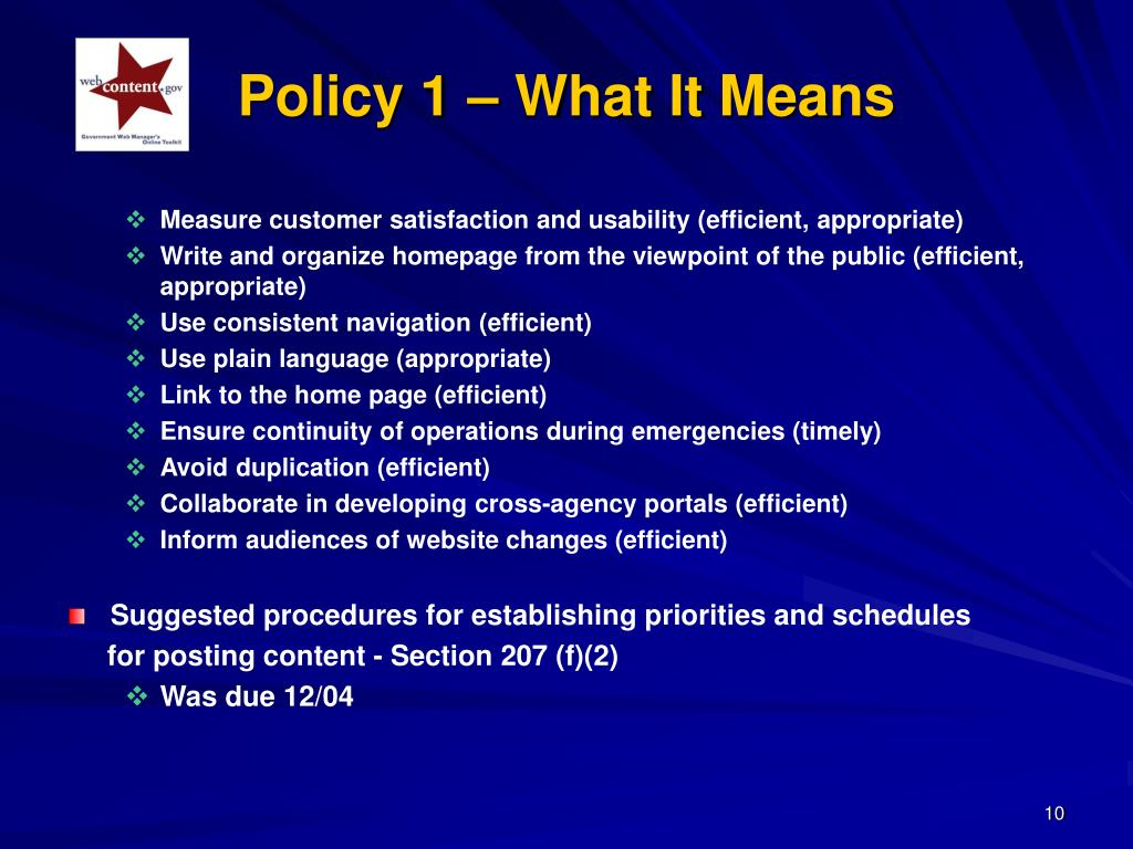 Policy 1 – What It Means