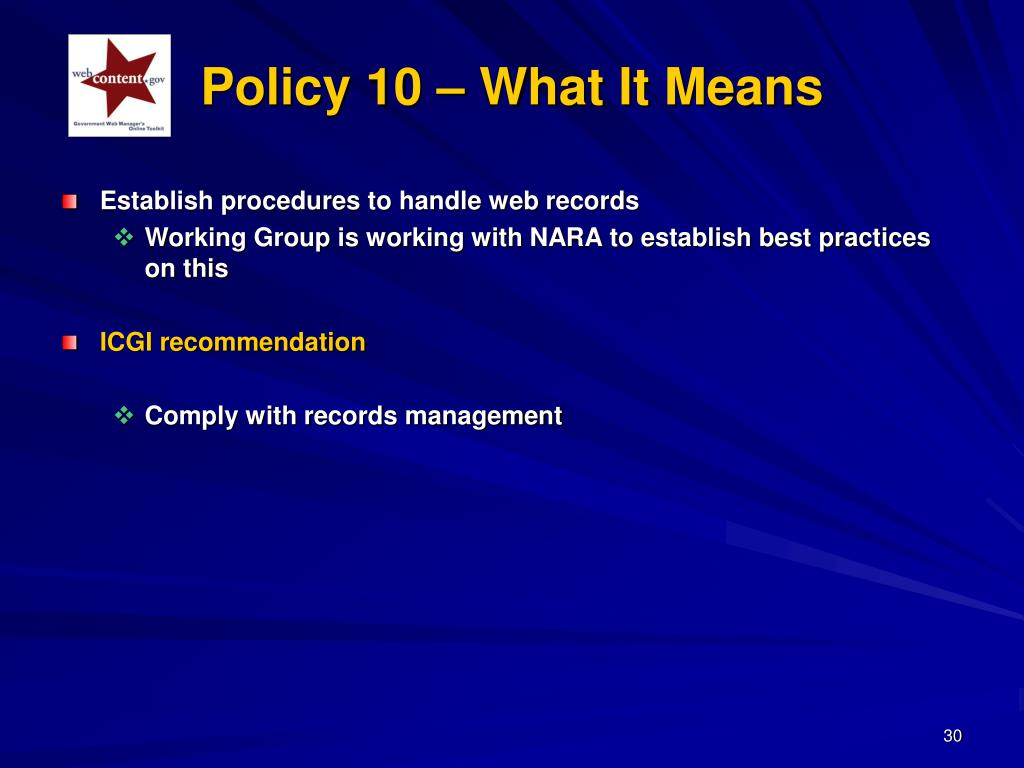 Policy 10 – What It Means
