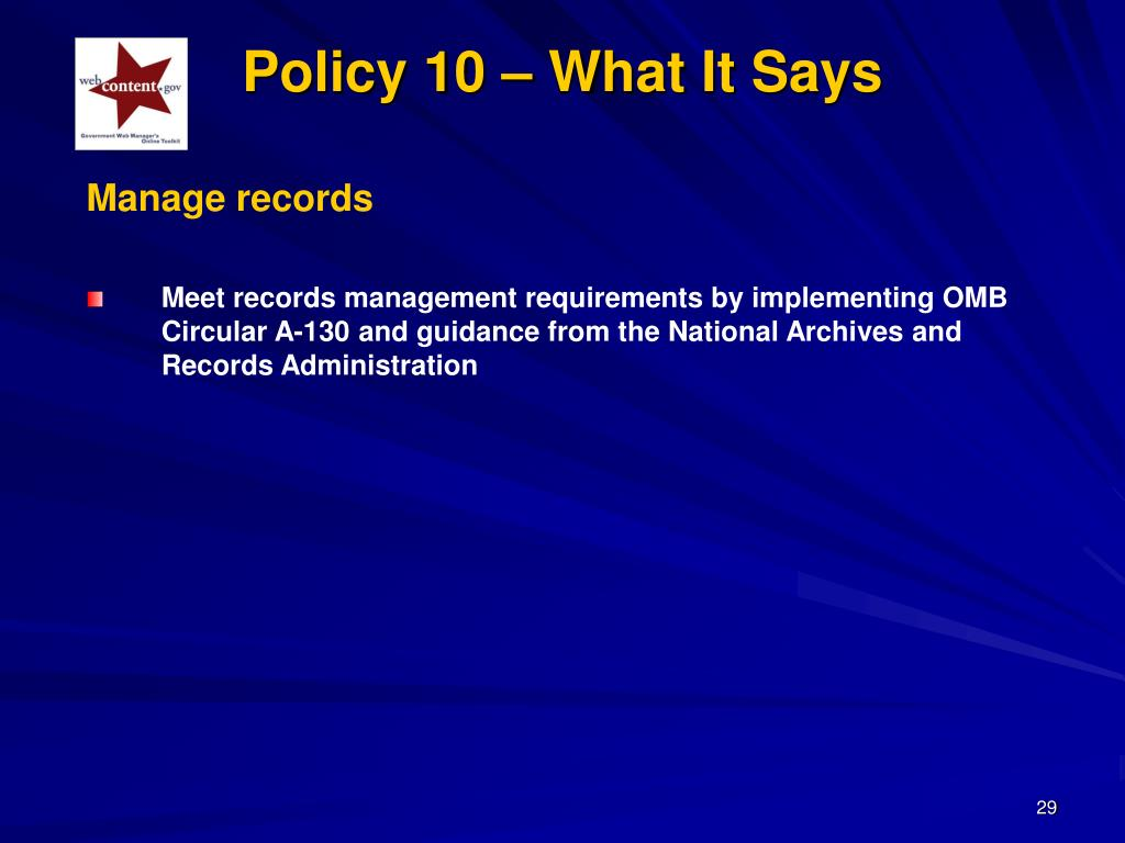 Policy 10 – What It Says