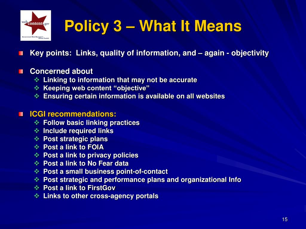 Policy 3 – What It Means