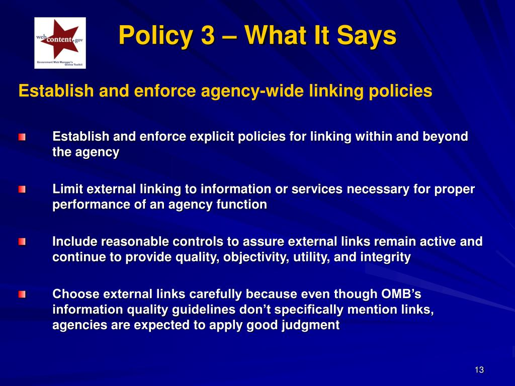 Policy 3 – What It Says