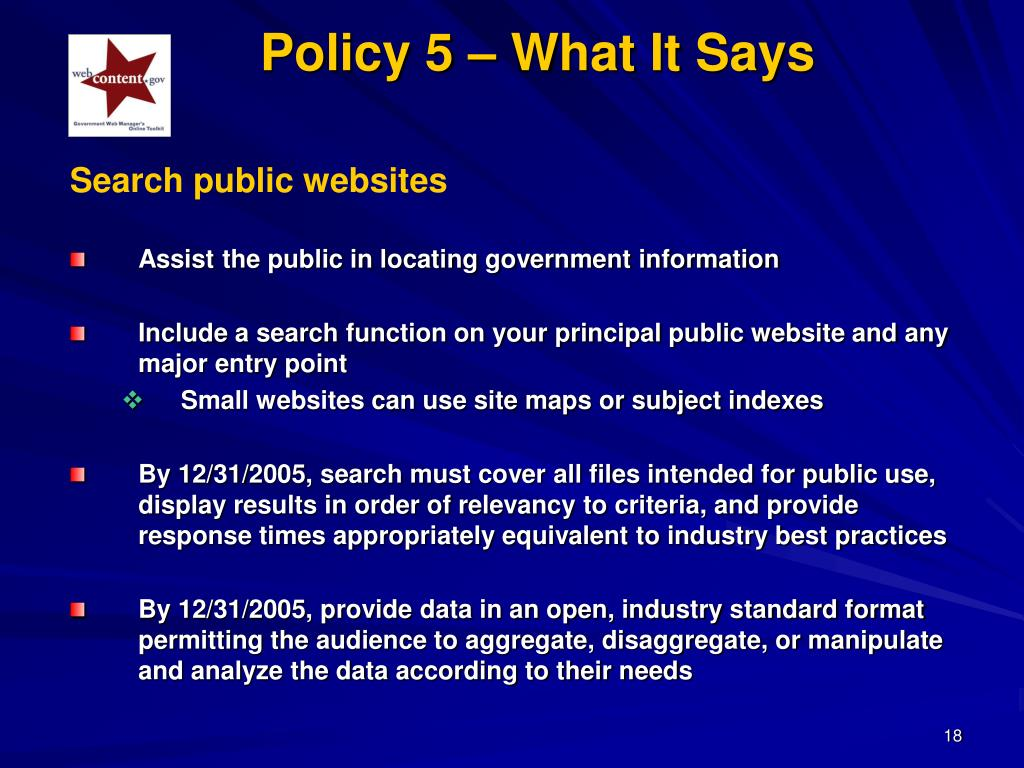 Policy 5 – What It Says
