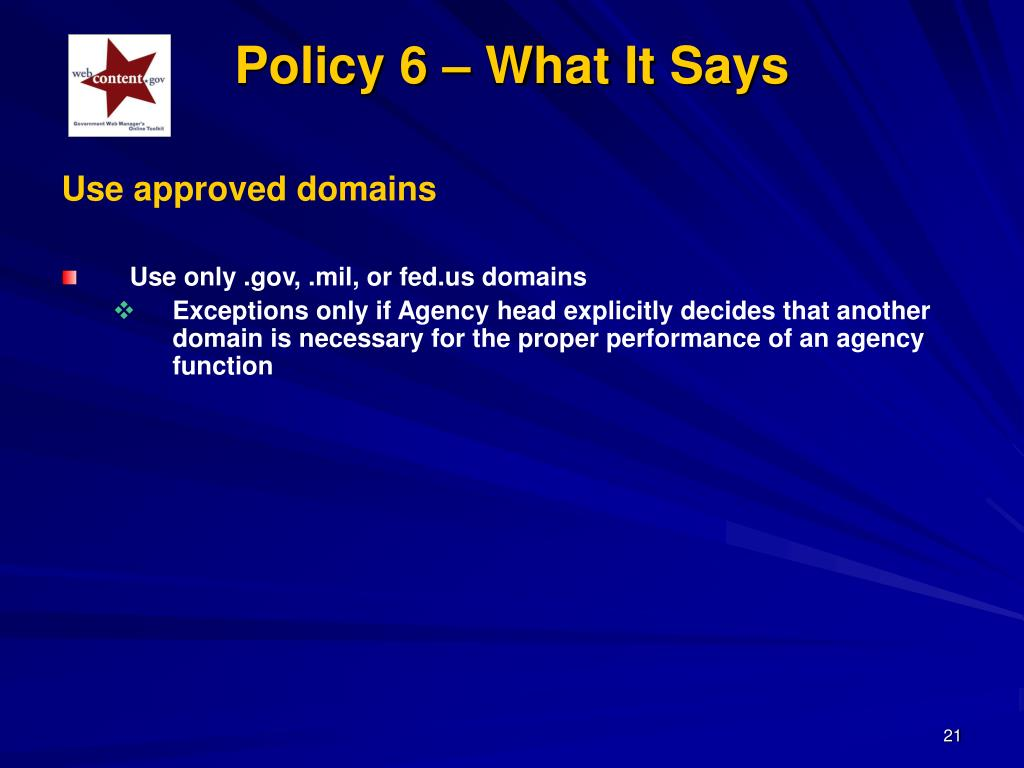 Policy 6 – What It Says