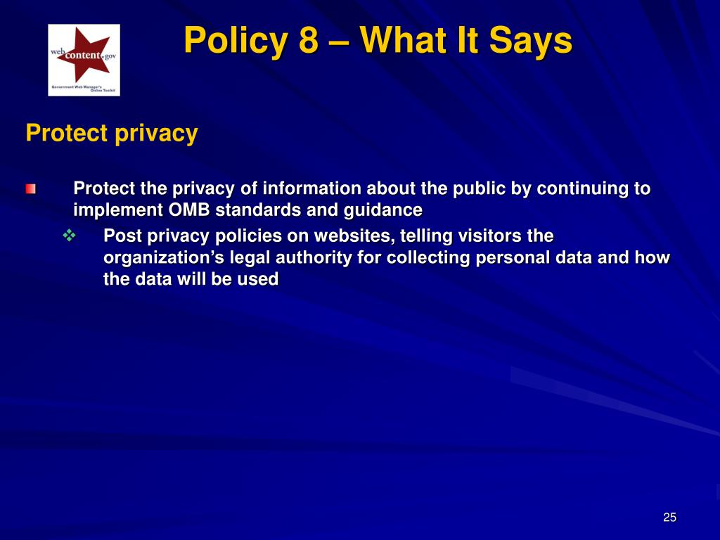 Policy 8 – What It Says