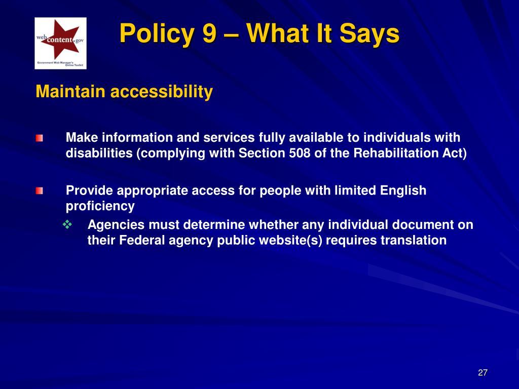 Maintain accessibility