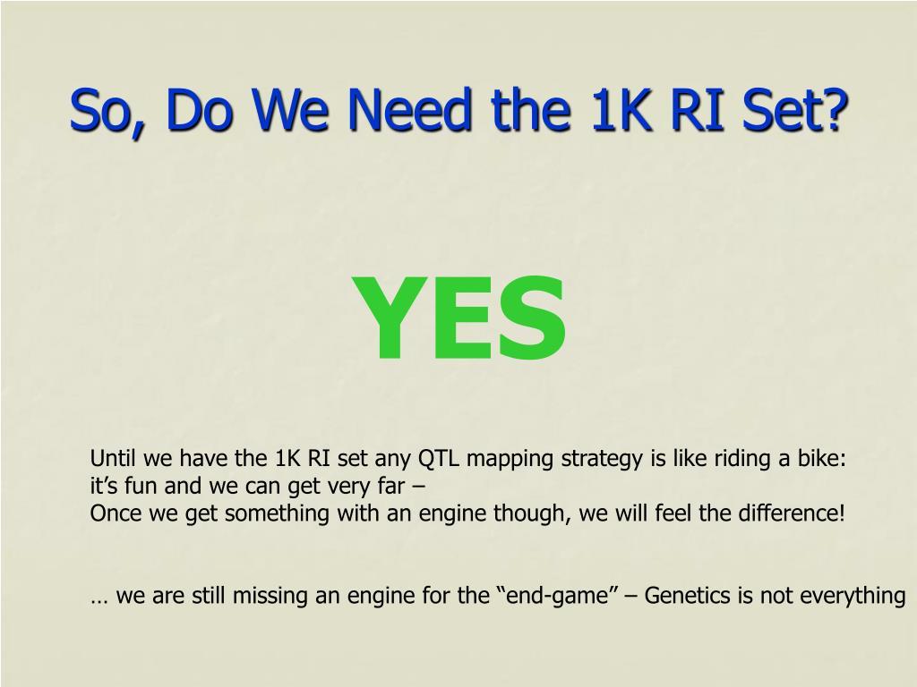 So, Do We Need the 1K RI Set?