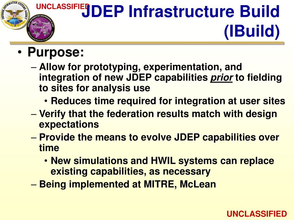 JDEP Infrastructure Build (IBuild)
