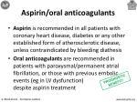 aspirin oral anticoagulants