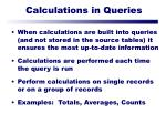 calculations in queries