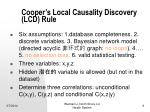 cooper s local causality discovery lcd rule