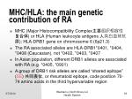 mhc hla the main genetic contribution of ra
