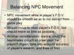 balancing npc movement