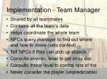 implementation team manager