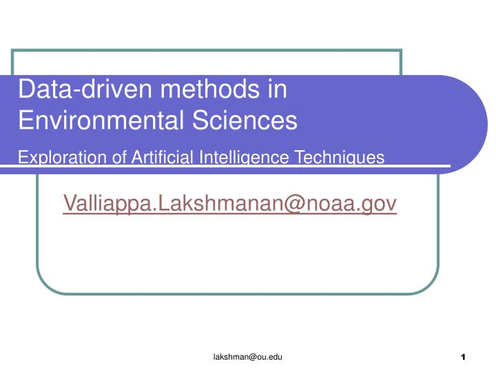 data driven methods in environmental sciences exploration of artificial intelligence techniques n.