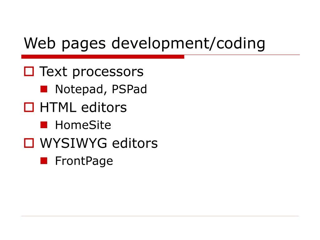 Web pages development/coding