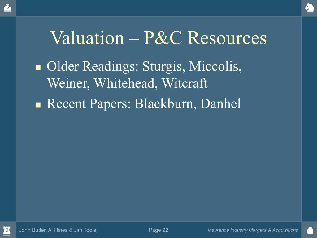 Valuation – P&C Resources
