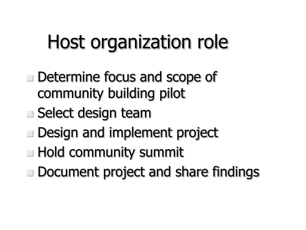 Host organization role