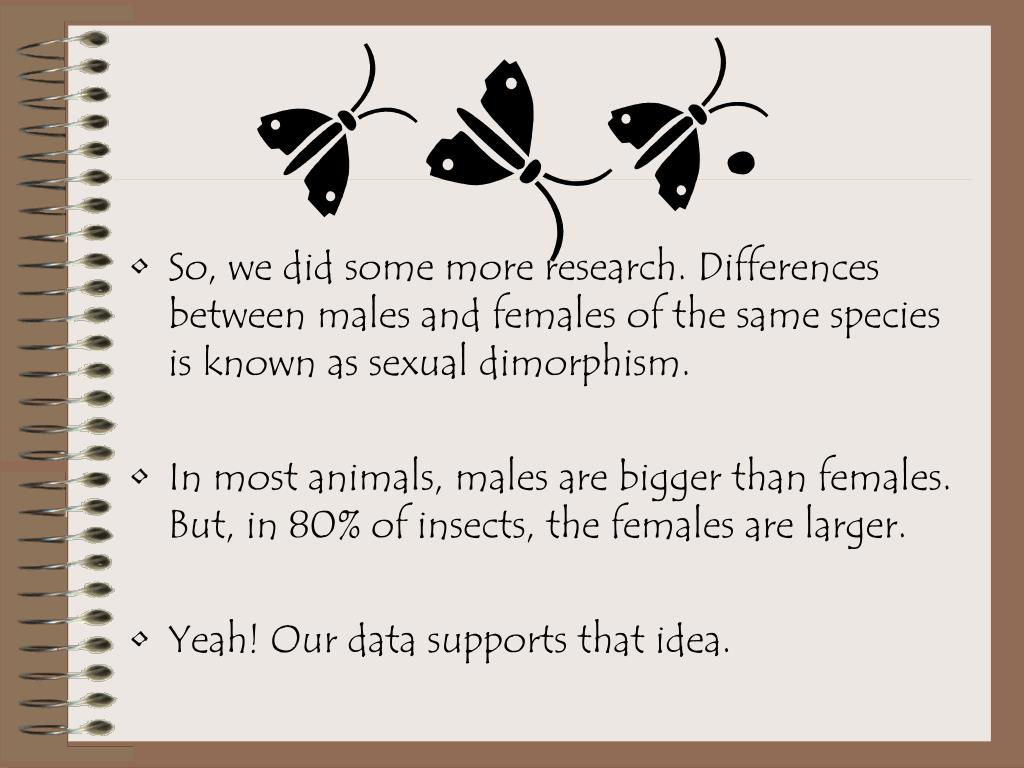 So, we did some more research. Differences between males and females of the same species is known as sexual dimorphism.