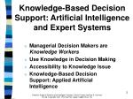 knowledge based decision support artificial intelligence and expert systems