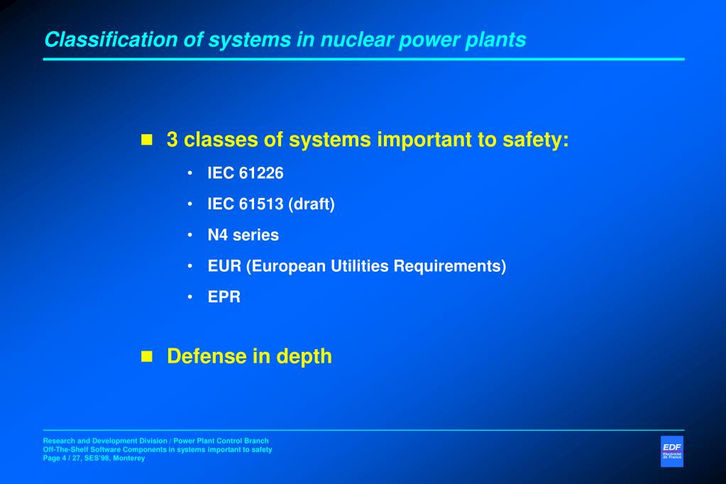 Classification of systems in nuclear power plants