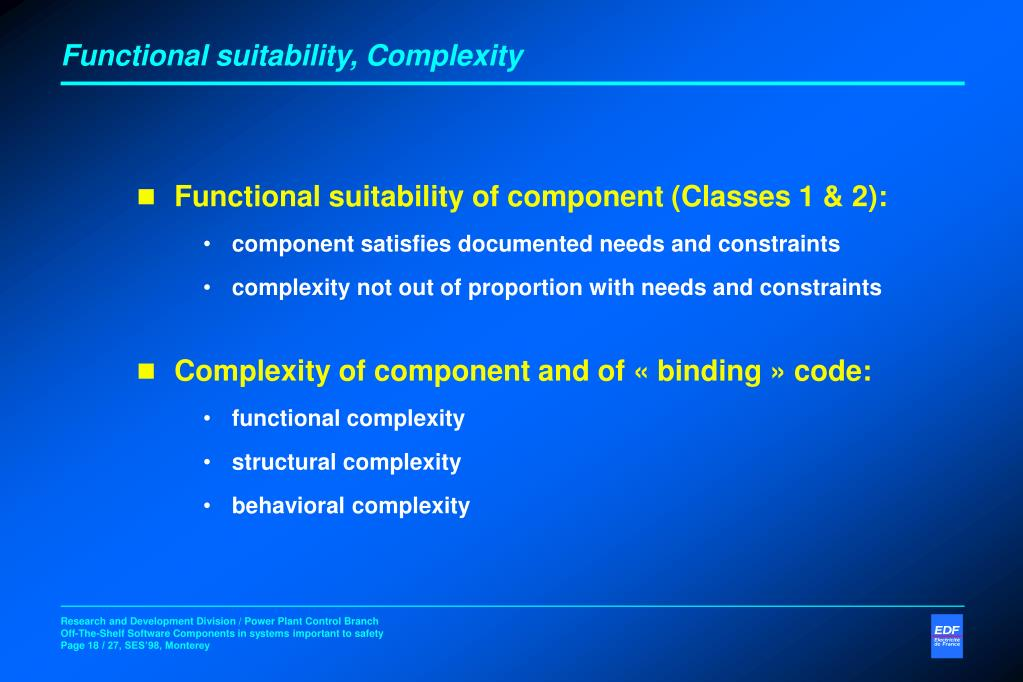 Functional suitability, Complexity