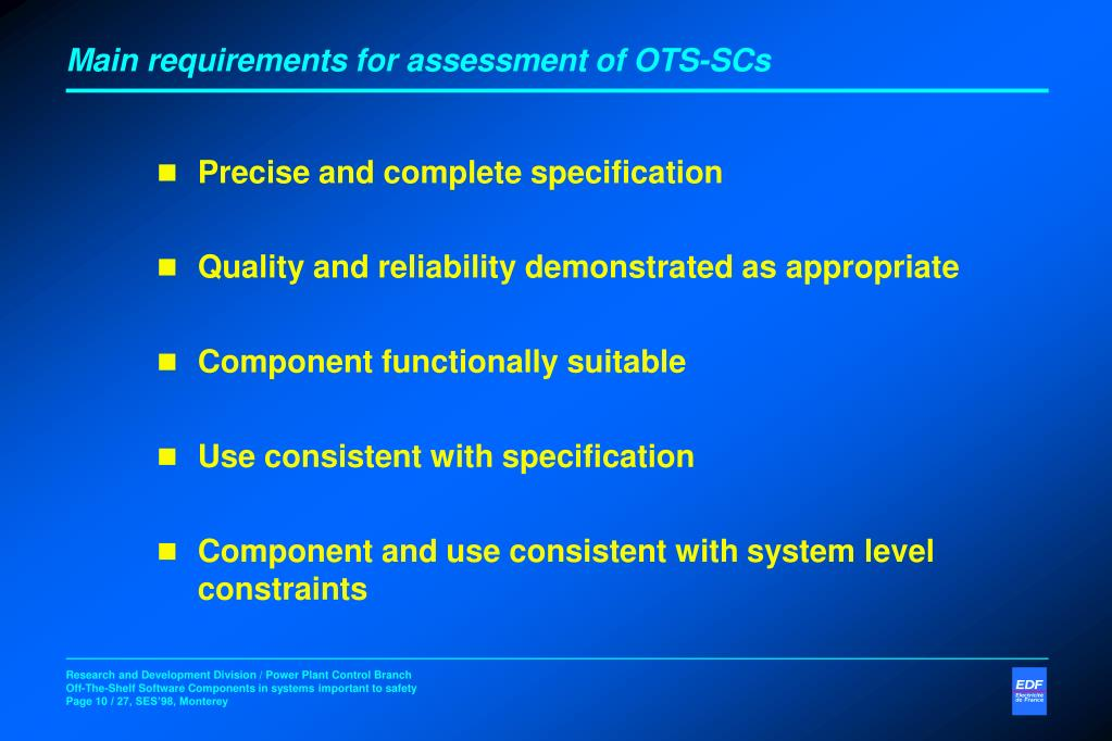 Main requirements for assessment of OTS-SCs