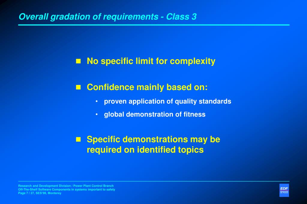 Overall gradation of requirements - Class 3