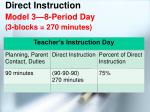 direct instruction model 3 8 period day 3 blocks 270 minutes