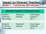 impact on itinerant teachers model 1 7 period day 350 minutes
