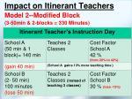 impact on itinerant teachers model 2 modified block 3 50min 2 blocks 330 minutes