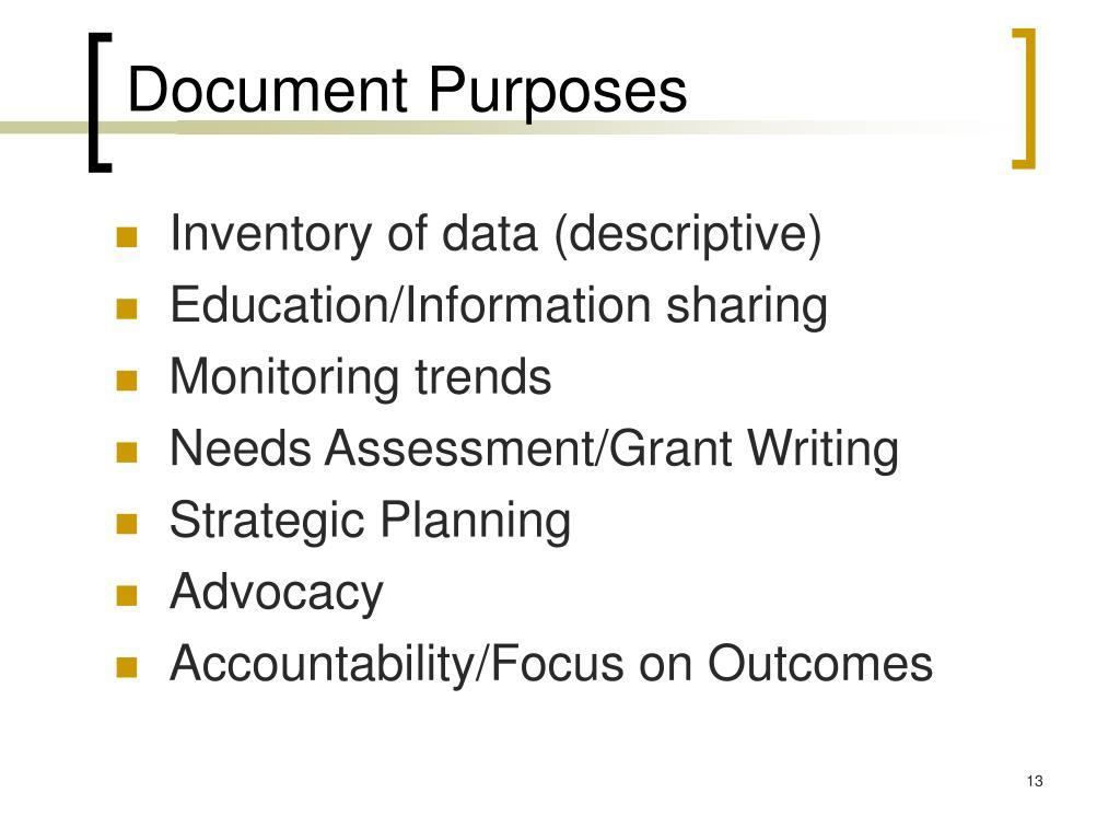 Document Purposes